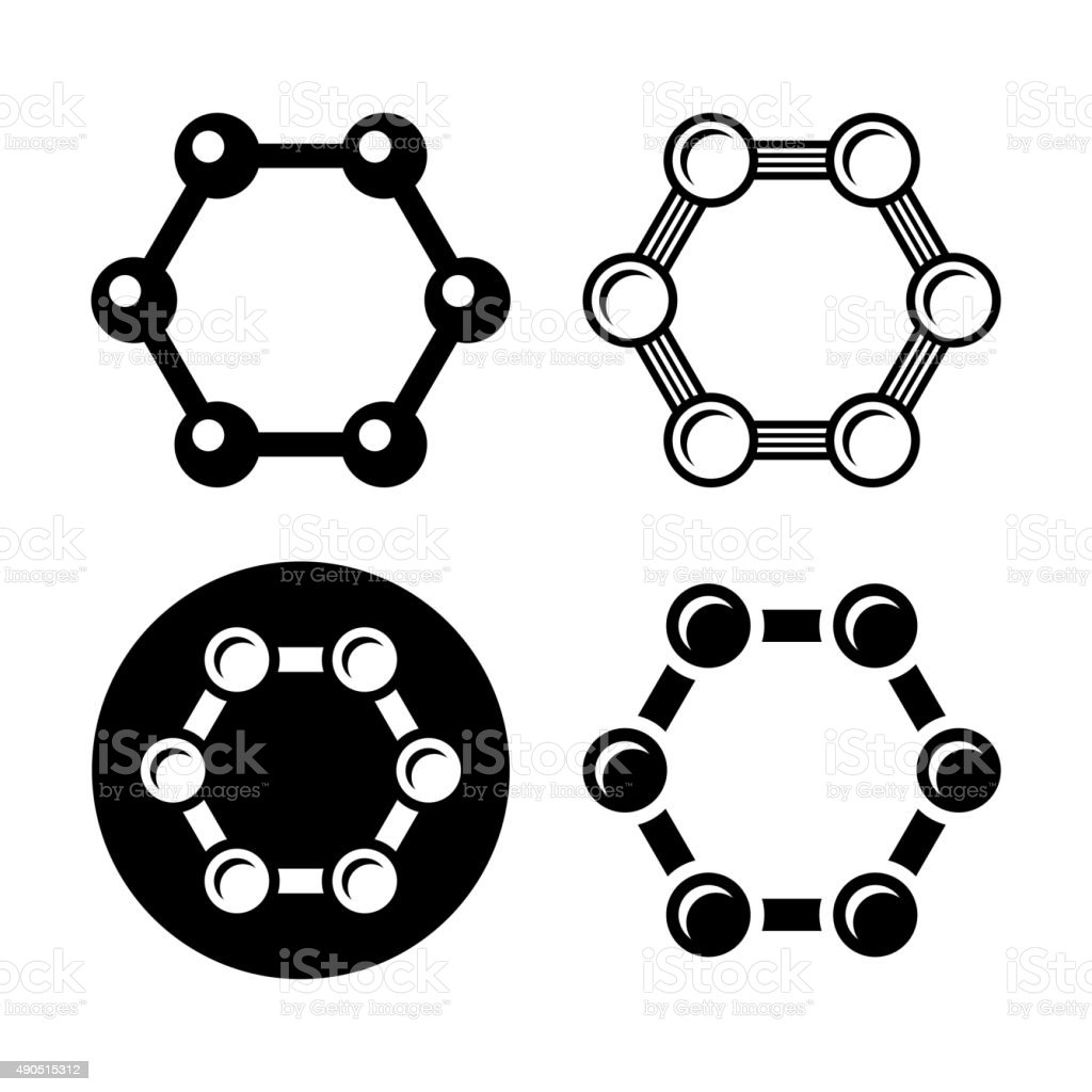 Graphene Structure Icons Set. Vector vector art illustration