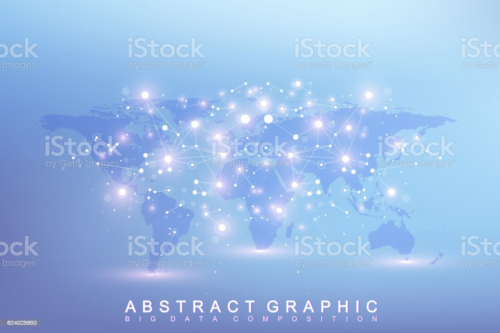 Graphic abstract background communication with world map. Vector illustration vector art illustration