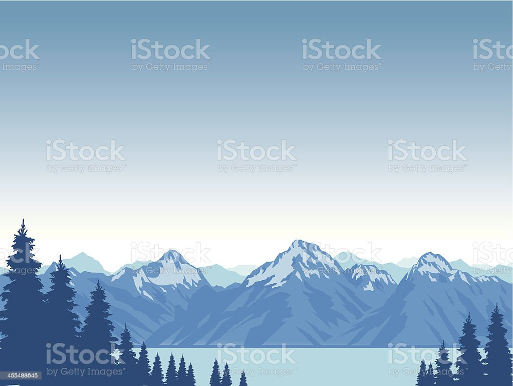 Graphic animation of snow capped mountains surrounding lake vector art illustration
