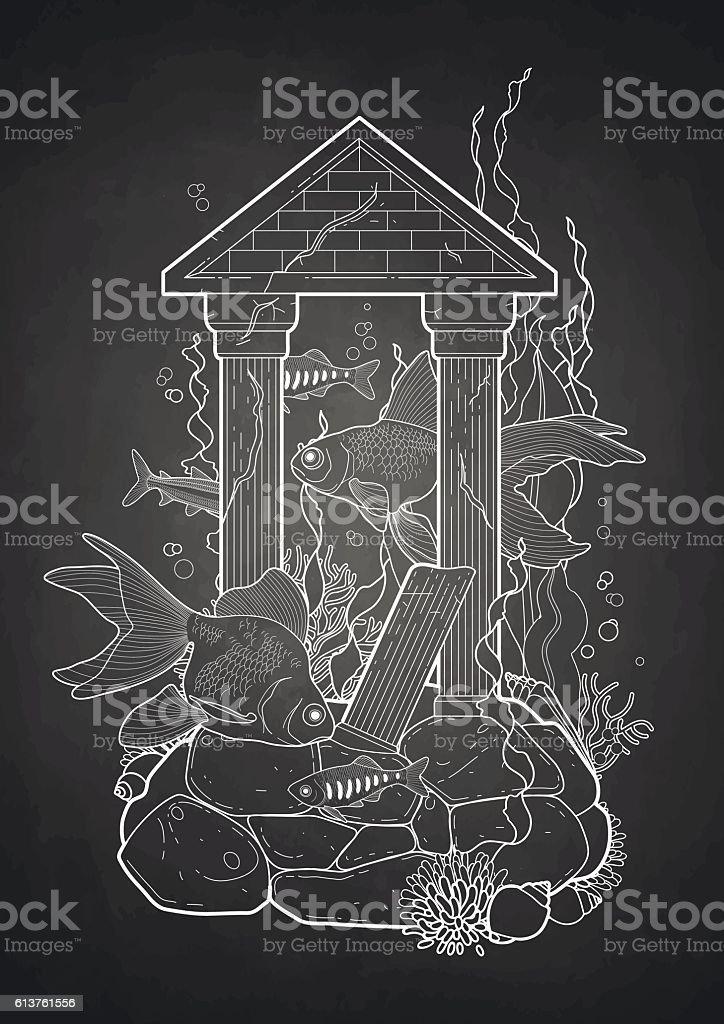 Graphic aquarium fish with architectural sculpture vector art illustration