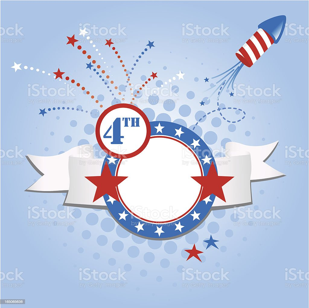 Graphic art in red white and blue with July 4th theme  royalty-free stock vector art