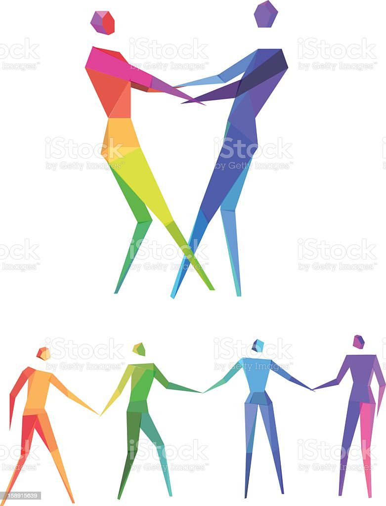 Graphic art of multi-colored human figures holding hands royalty-free stock vector art