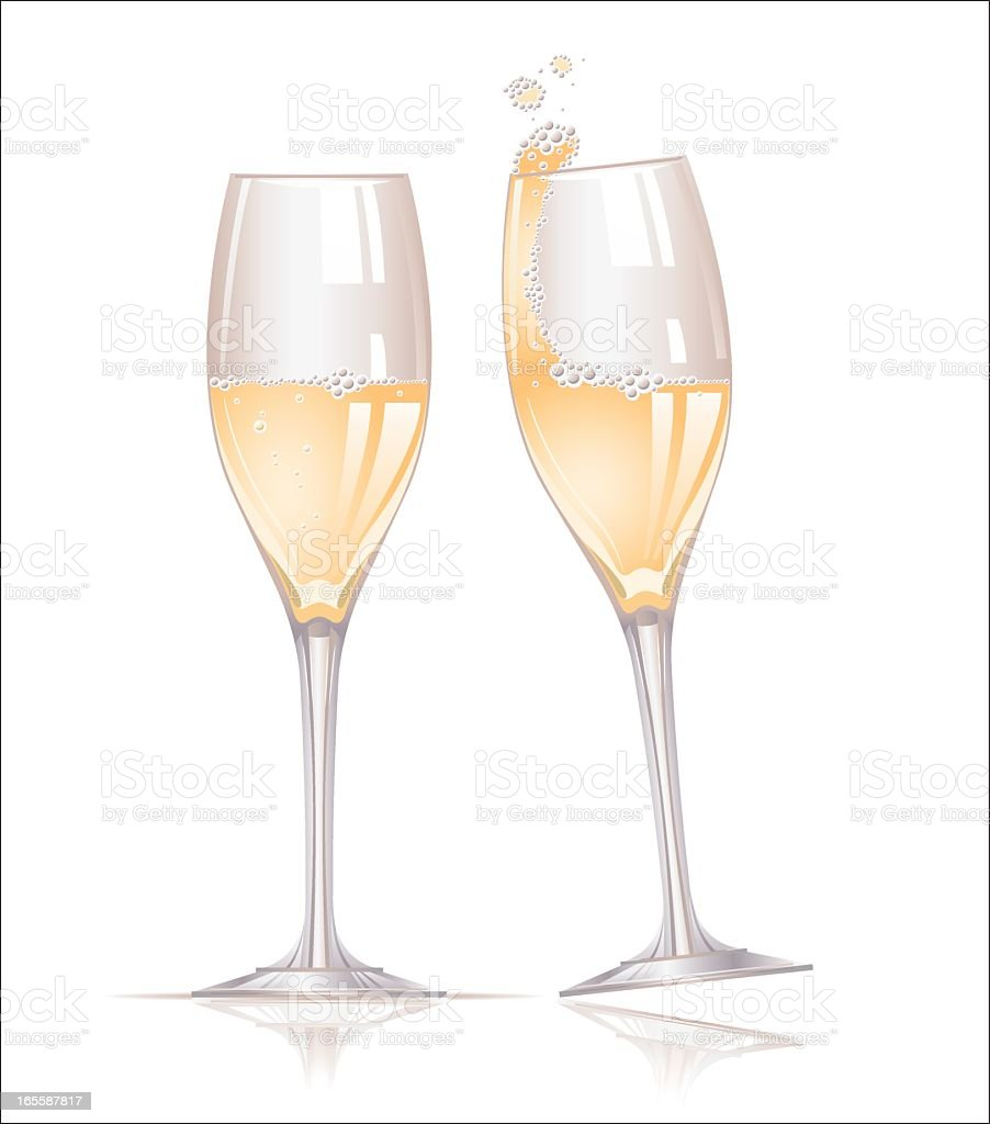 Graphic art of two full champagne glasses bubbling over royalty-free stock vector art