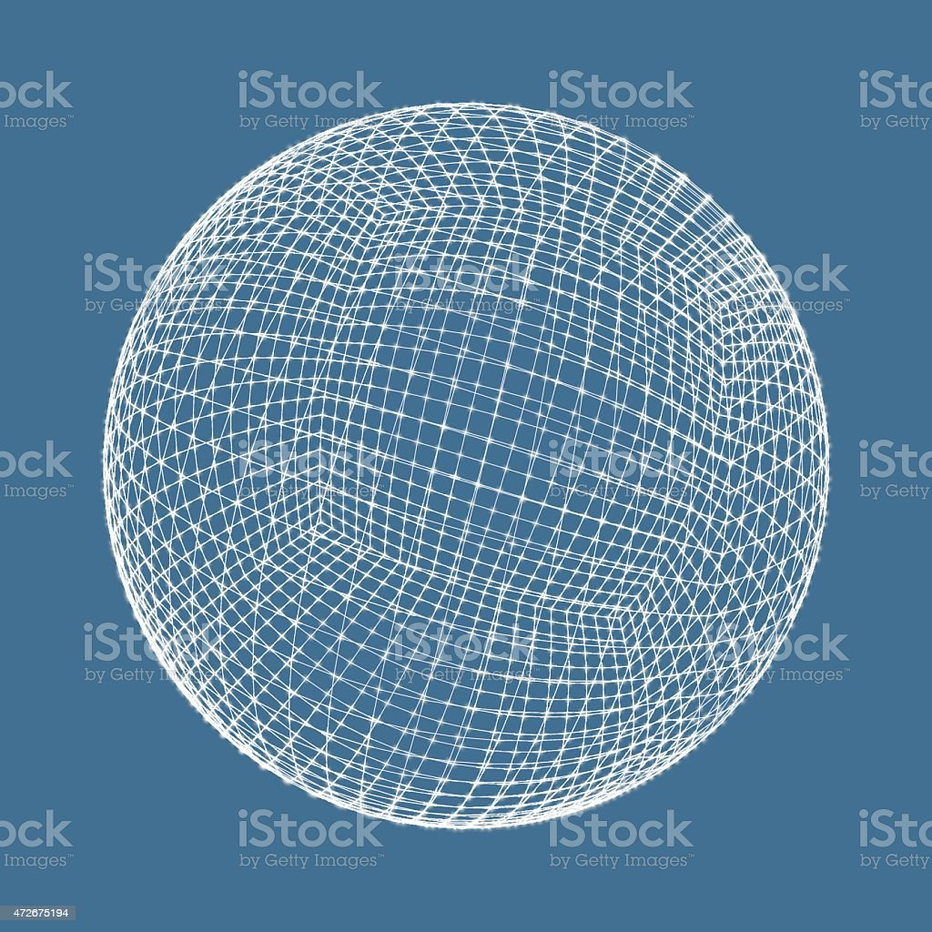 Graphic art on blue of a 3D sphere made of white lines vector art illustration