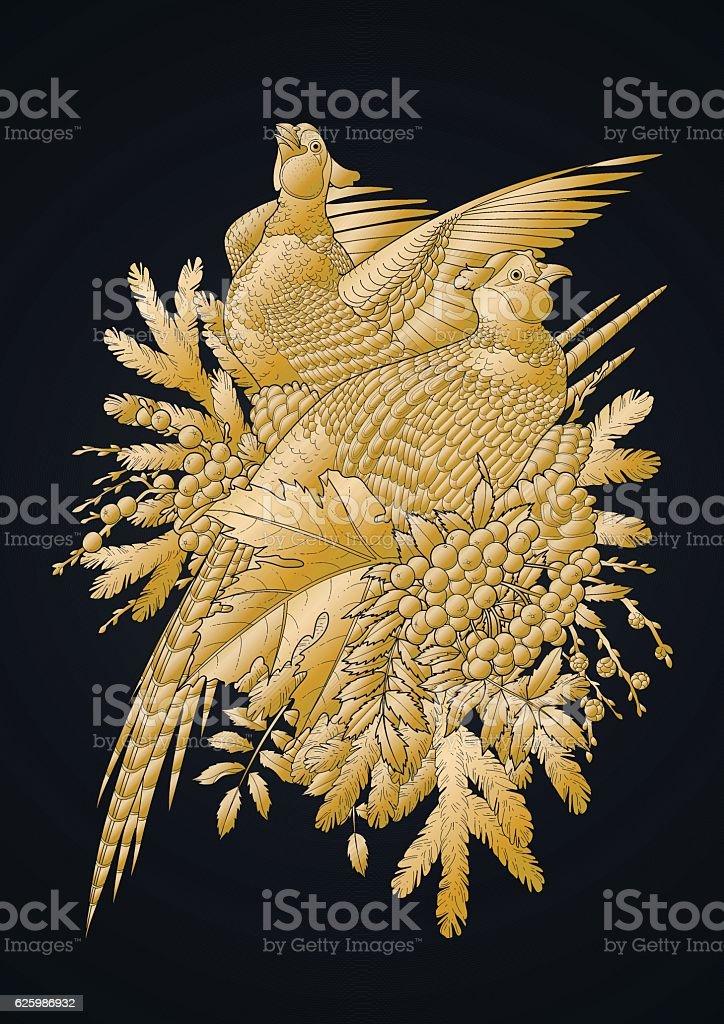 Graphic art with pheasants vector art illustration