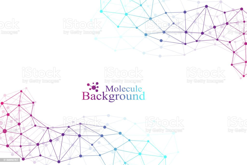 Graphic background molecule and communication. Connected lines with dots. Medicine vector art illustration