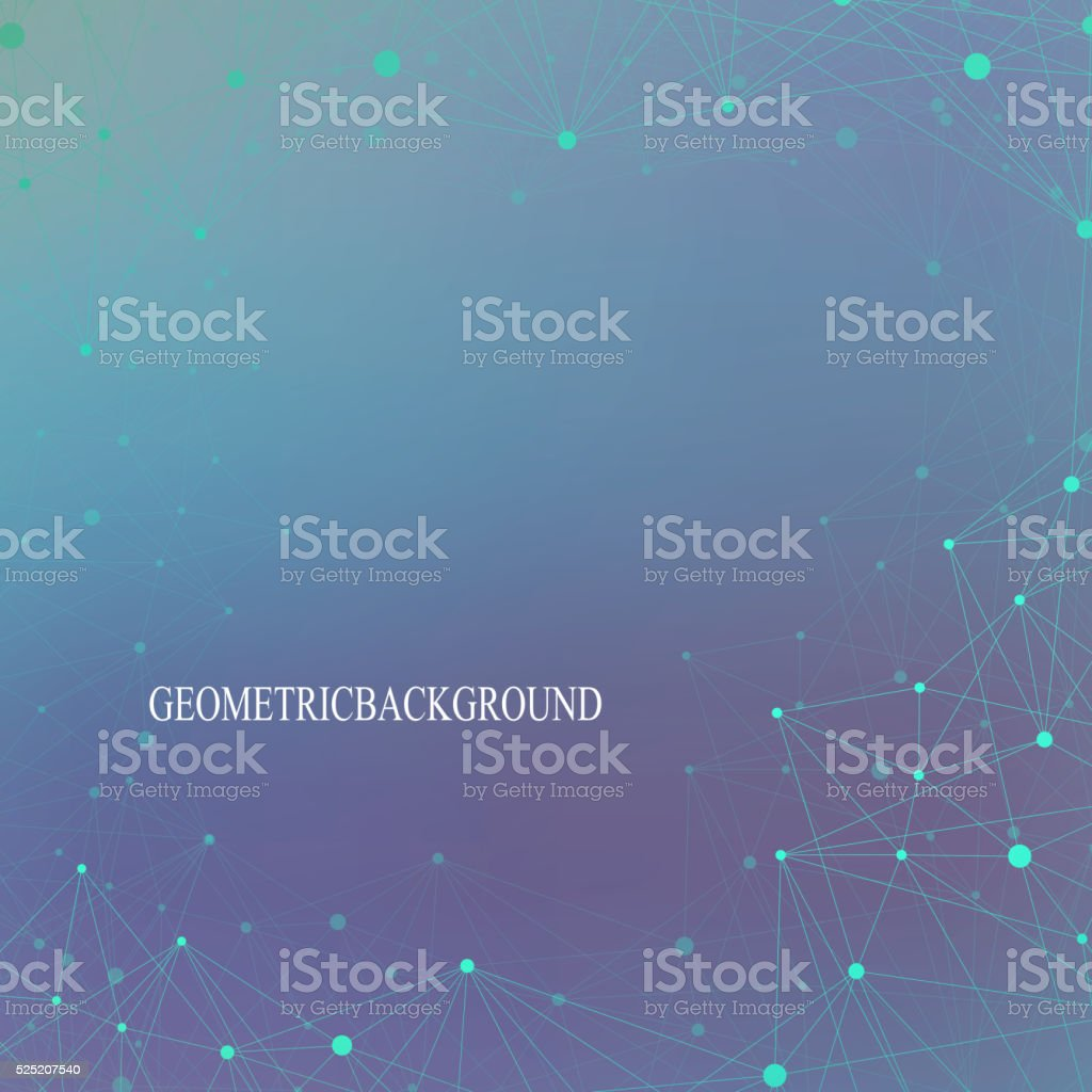Graphic background molecule and communication. Connected lines with dots. Concept vector art illustration