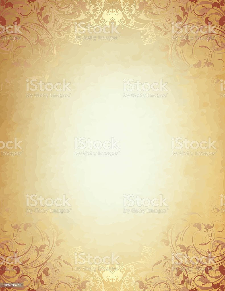 Graphic background with antique parchment scroll design royalty-free stock vector art