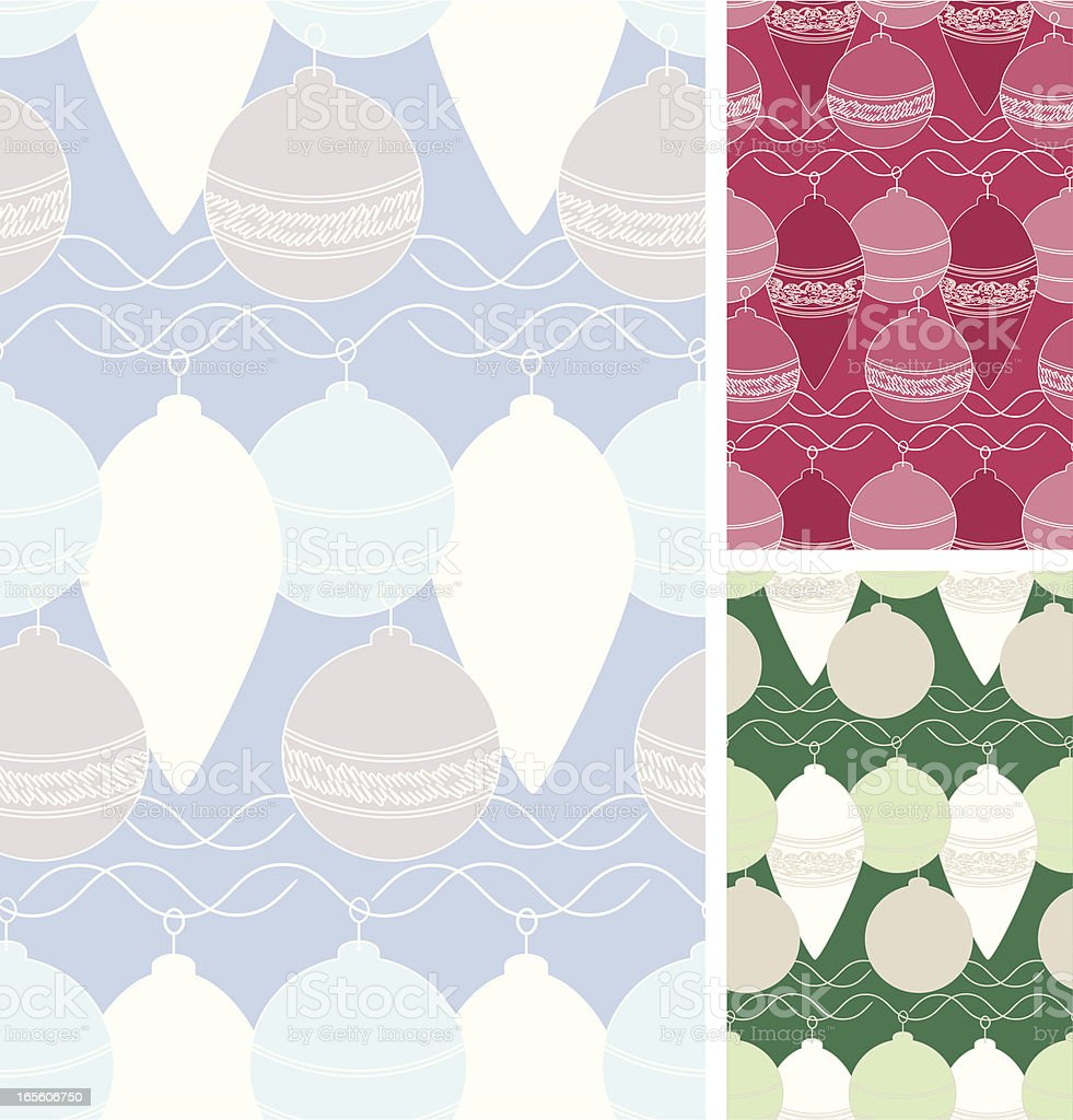 Graphic Baubles - Three Seamless Patterns, Blue, Red, Green royalty-free stock vector art