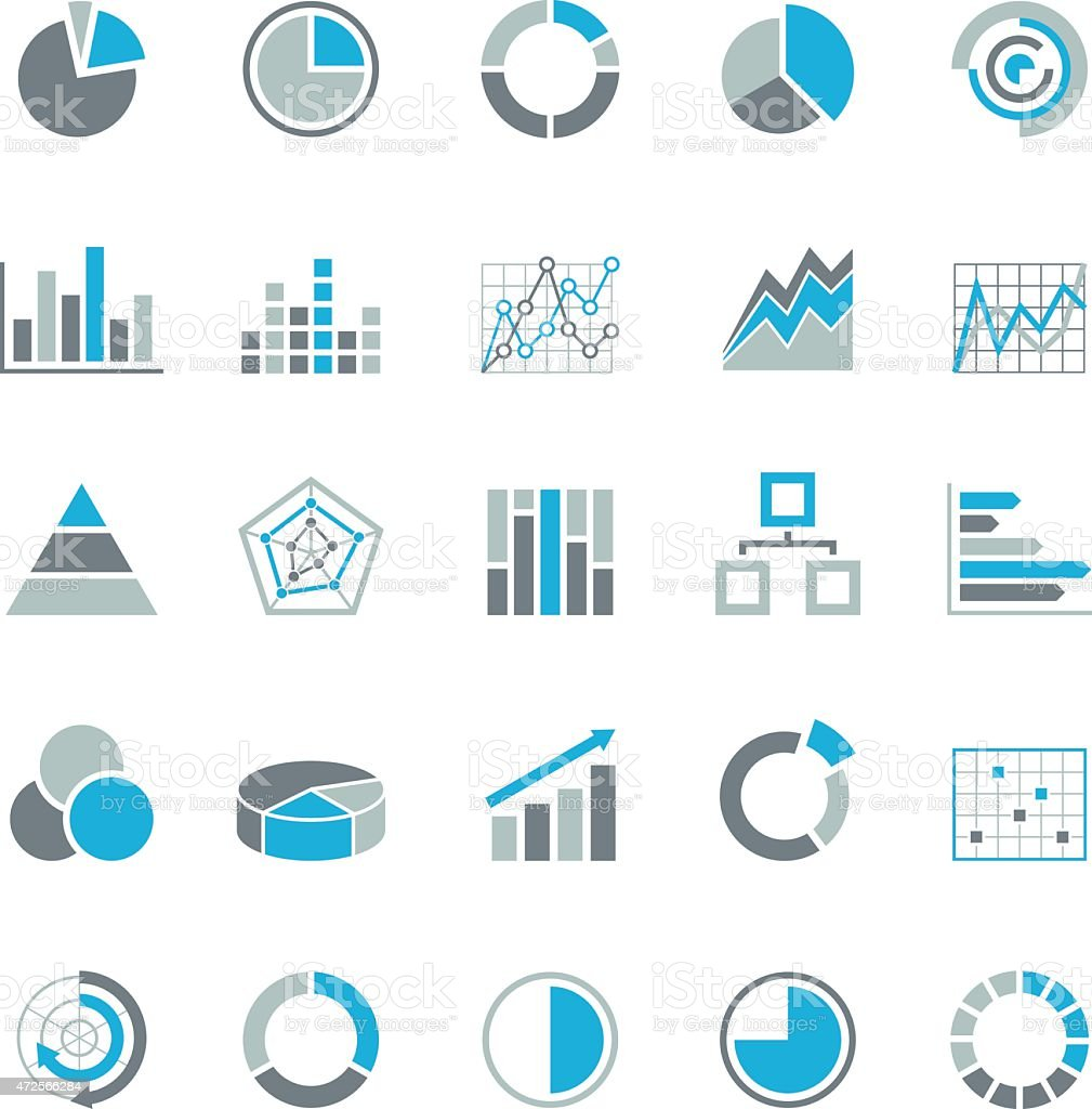 Graphic business charts - Blue Gray Icons - Illustration vector art illustration