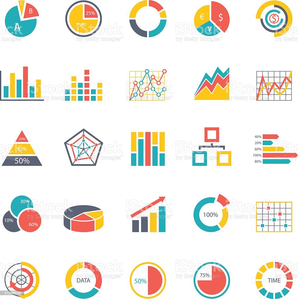 Graphic business charts - Color Icons - Illustration vector art illustration
