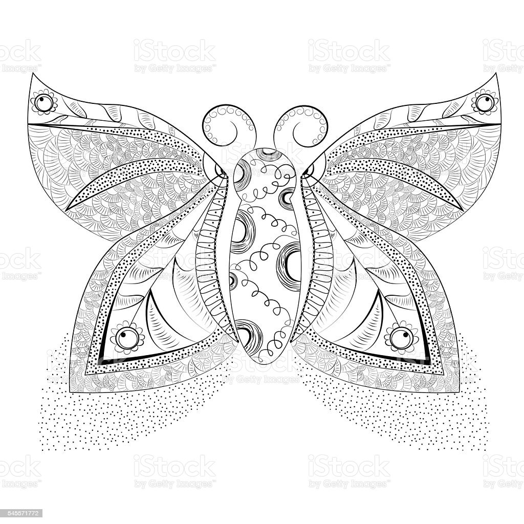 Graphic butterfly from elements of the black stencil royalty-free stock vector art