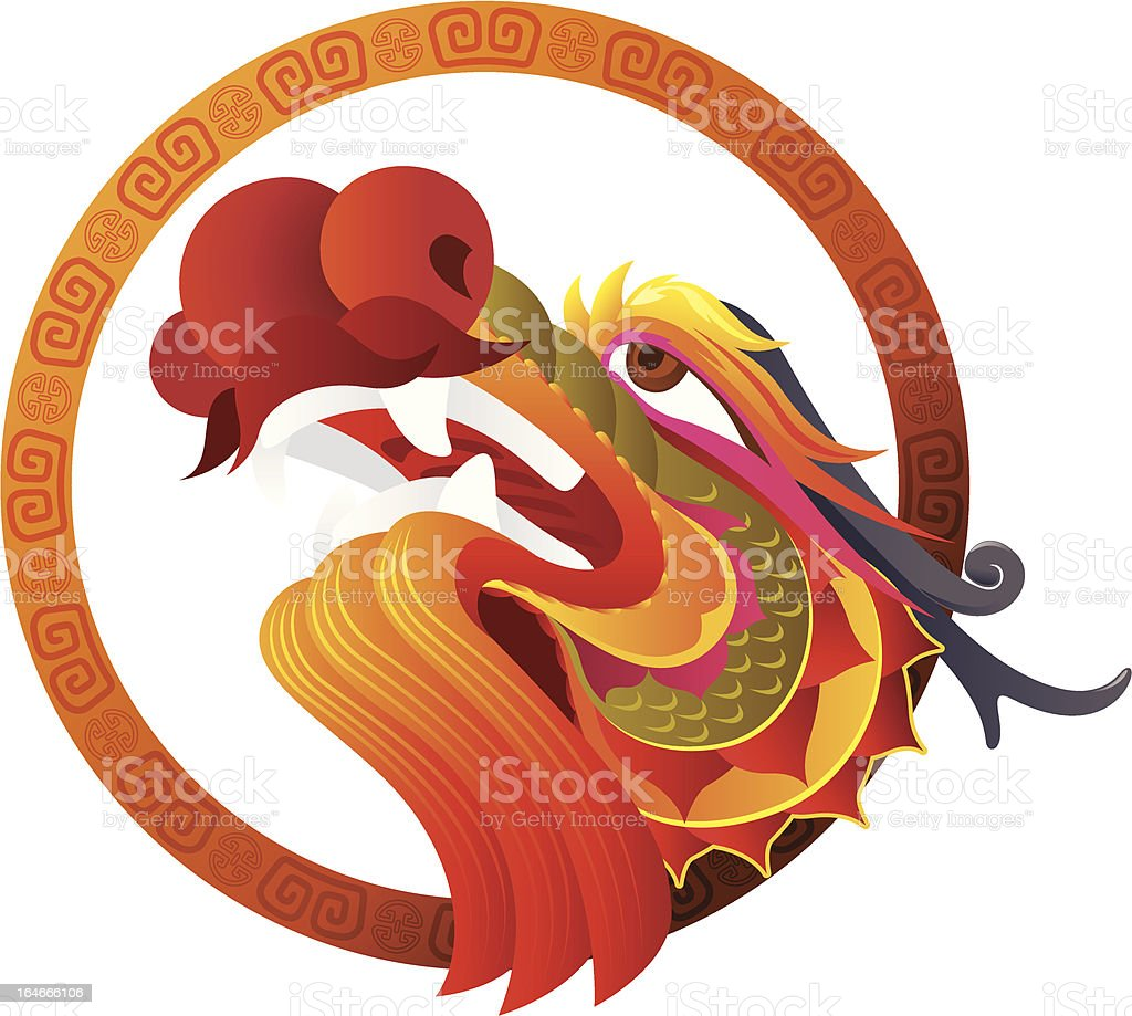 A graphic Chinese dragon head art royalty-free stock vector art