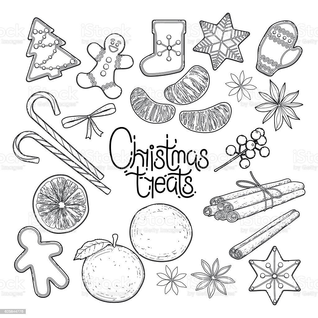 Graphic christmas treats vector art illustration