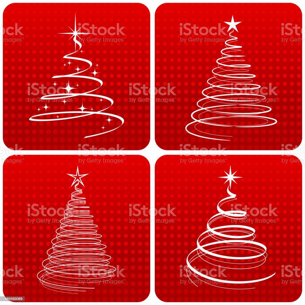 Graphic christmas trees vector art illustration