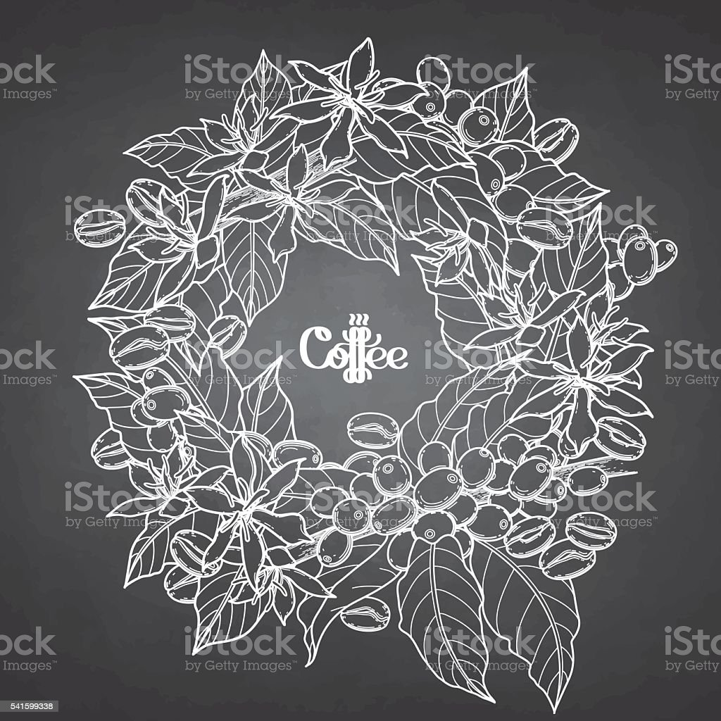 Graphic coffee wreath vector art illustration