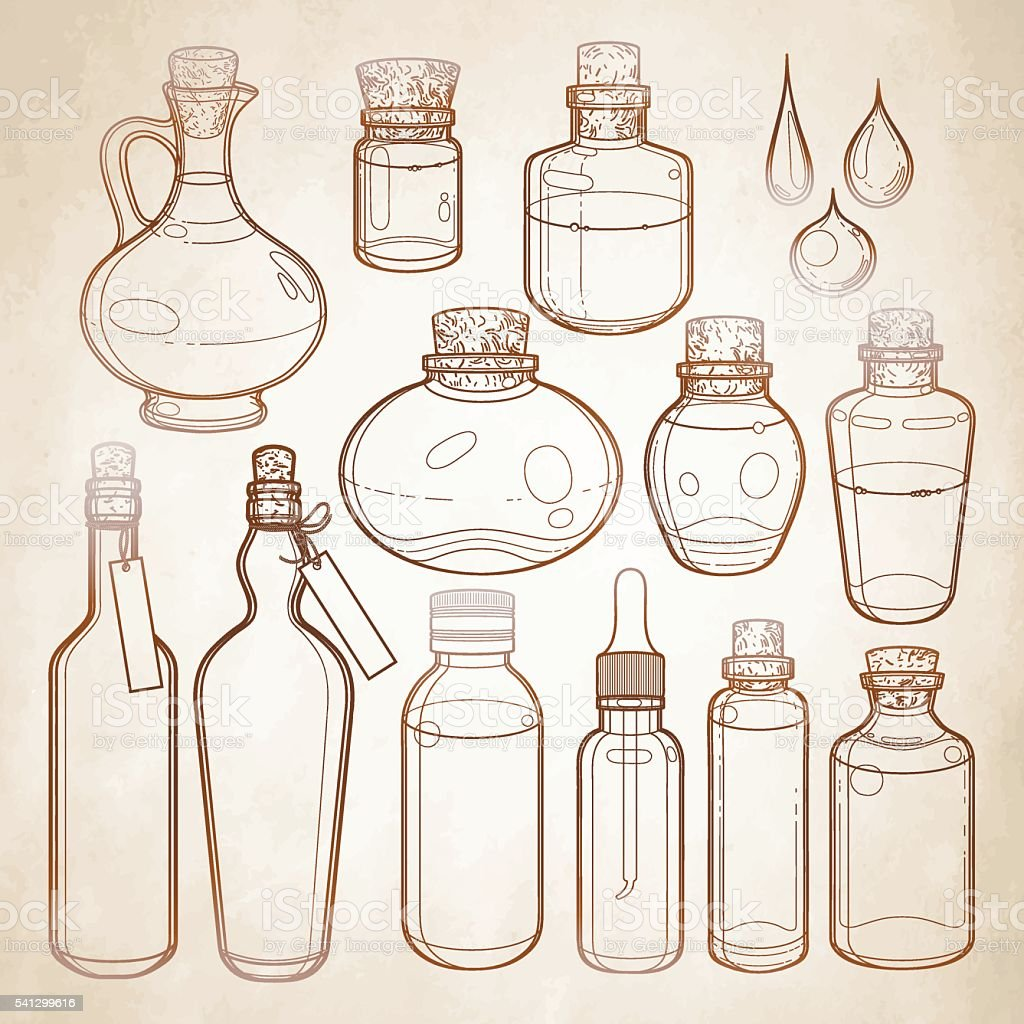 Graphic collection of glass bottles vector art illustration