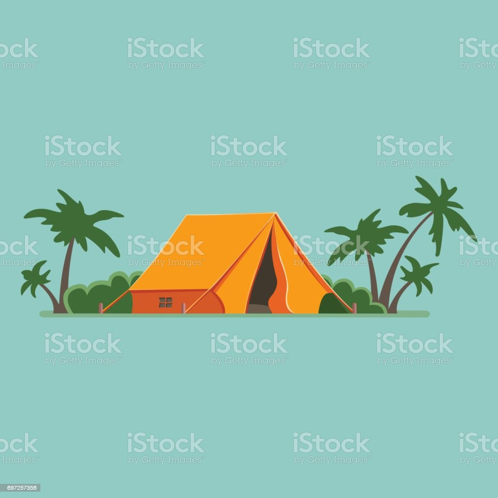 Graphic Decorative Tourist cartoon tent isolated, Among palm trees. Camping in nature in an orange hut. Summer vacation. Vector flat illustration, icon vector art illustration