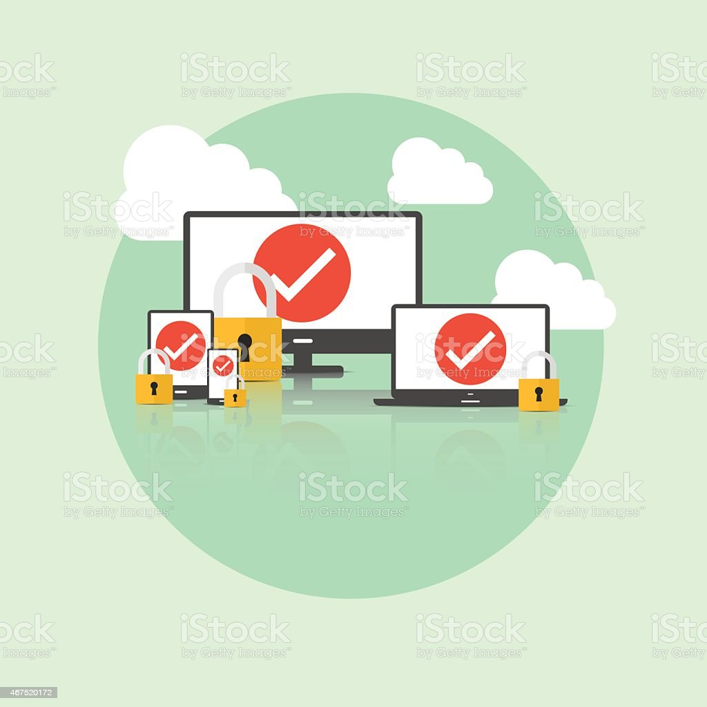 Graphic depicting Internet security on various devices vector art illustration