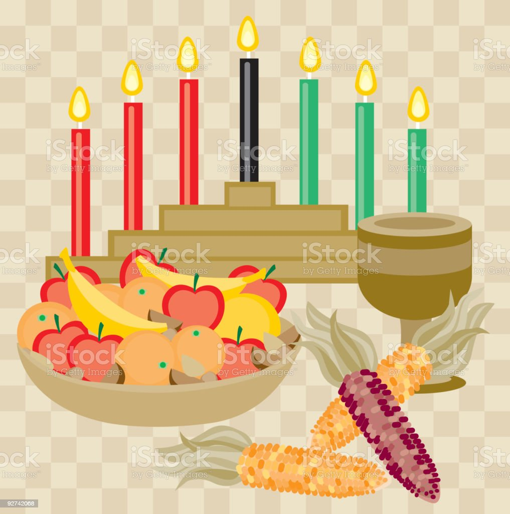 Graphic depicting the main tenets of a Kwanzaa celebration vector art illustration