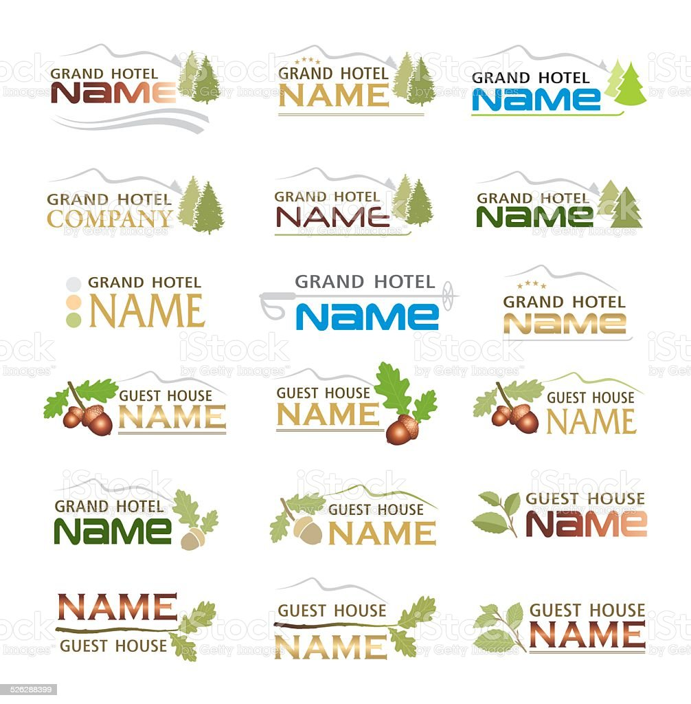 Graphic design brand of mountain holiday hotel vector art illustration