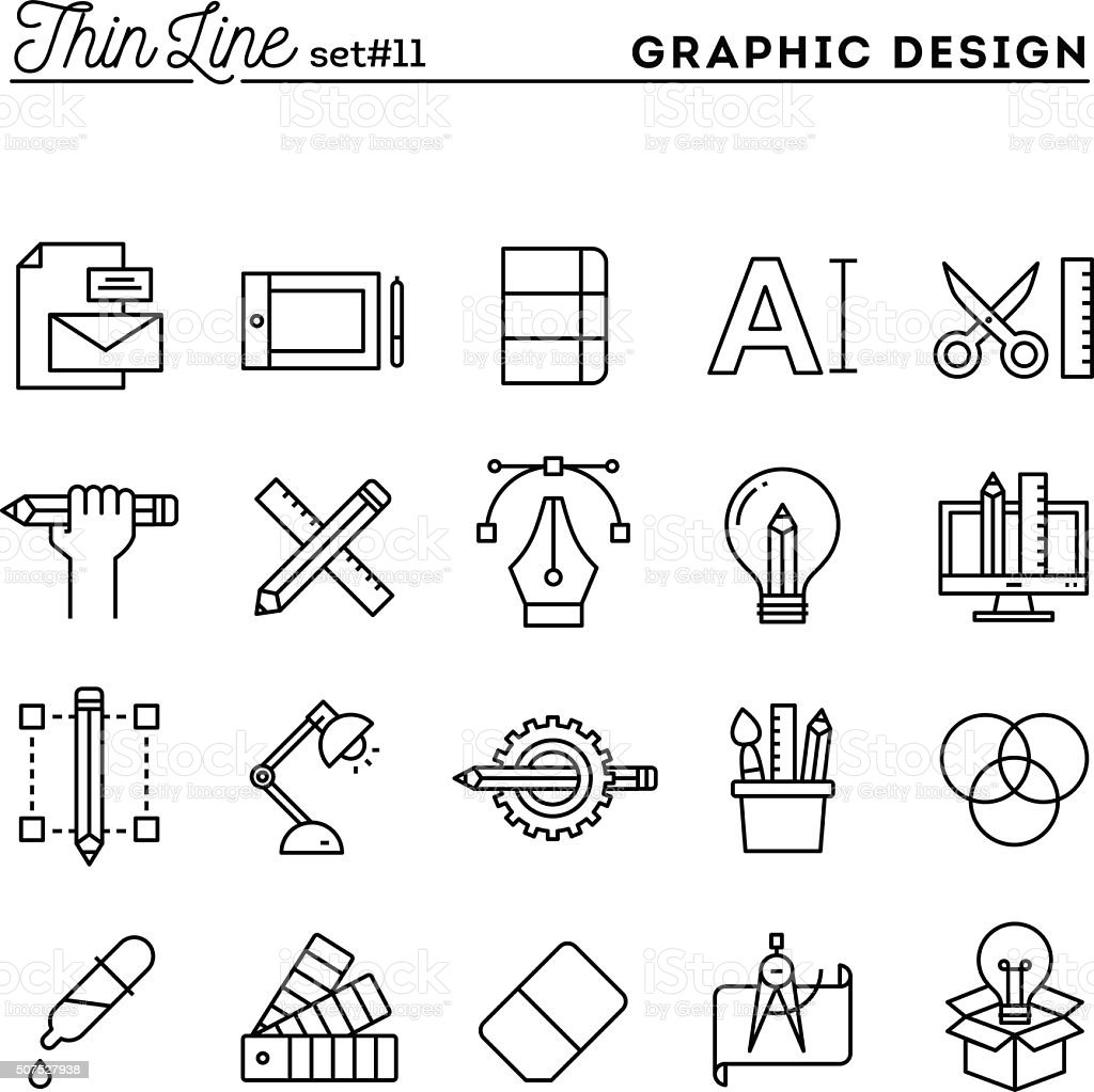 Graphic design, creative package, stationary, software and more vector art illustration