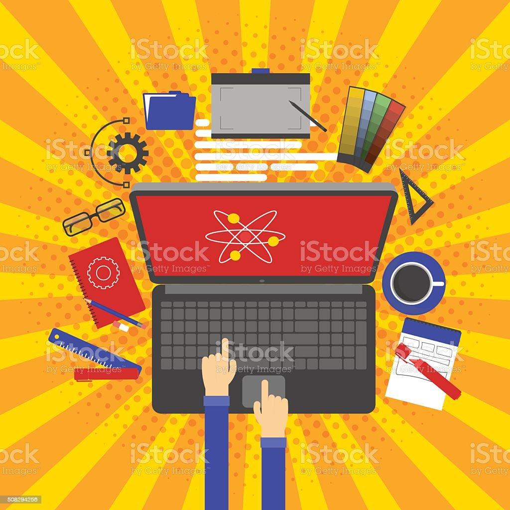 Graphic design, designer tools and software vector art illustration