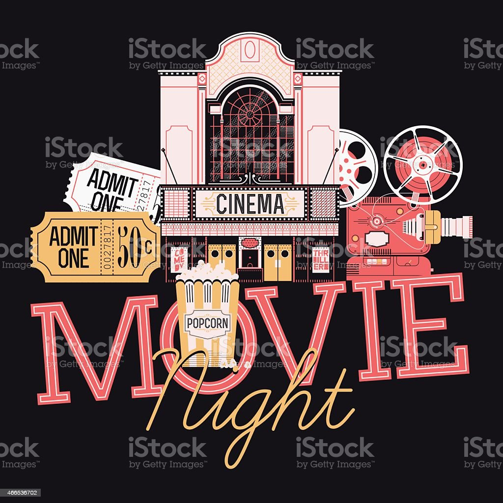 Graphic design element on Movie Night event vector art illustration