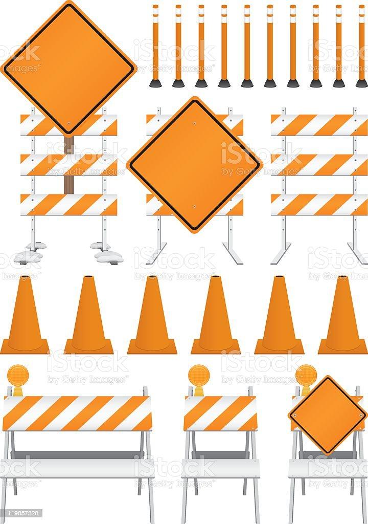Graphic design elements of orange construction signs vector art illustration