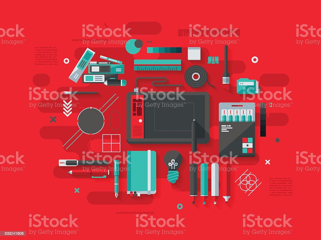 Graphic Design Flat Design Concept vector art illustration