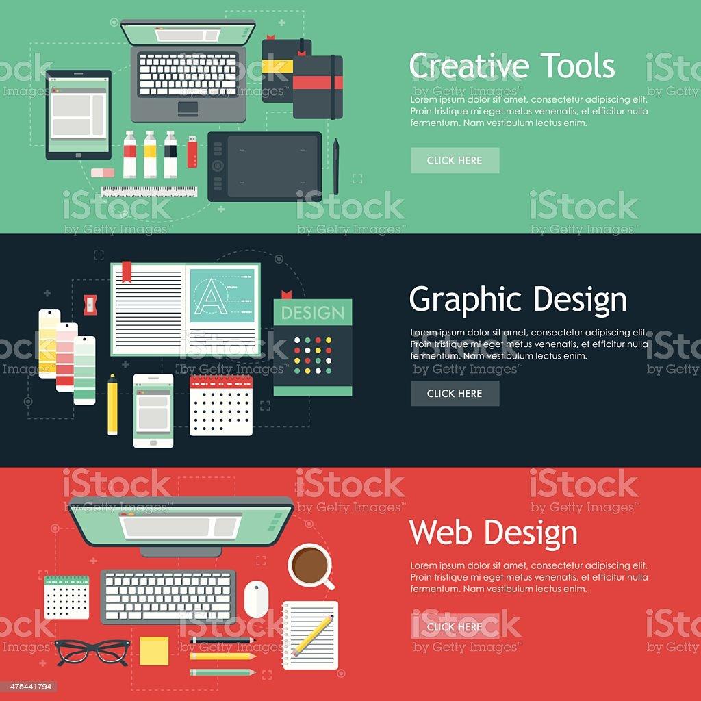 Graphic Design Flat Design Web Banners Icon Sets vector art illustration