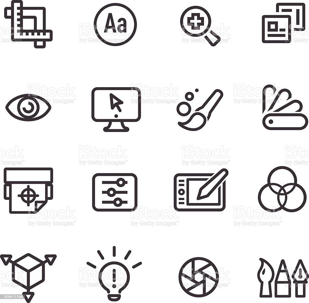Graphic Design Icons - Line Series vector art illustration