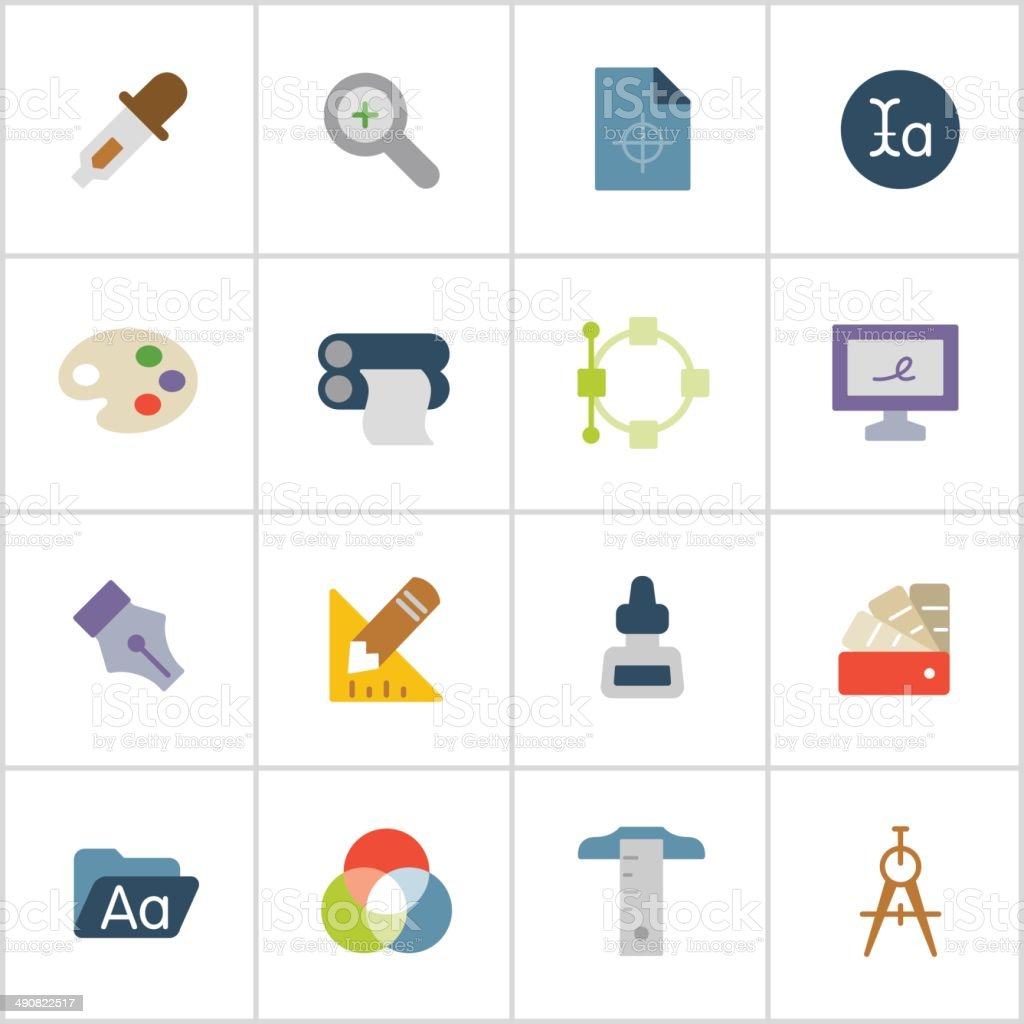 Graphic Design Icons — Poly Series vector art illustration