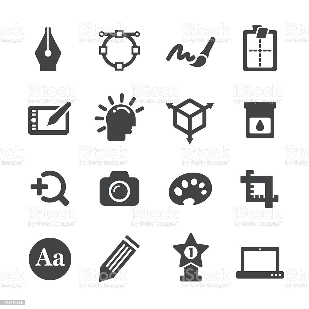 Graphic Design Icons Set - Acme Series vector art illustration
