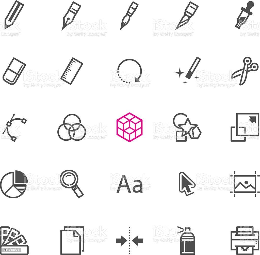 Graphic Design icons vector art illustration