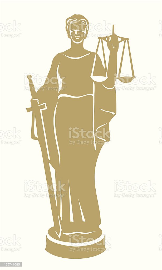 Graphic design in gold of Lady Justice vector art illustration