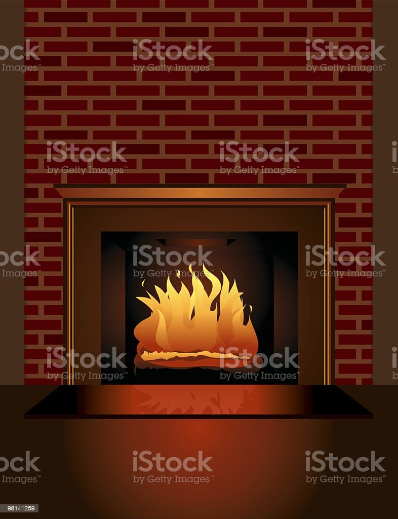 A graphic design of a brick fireplace with a fire burning royalty-free stock vector art