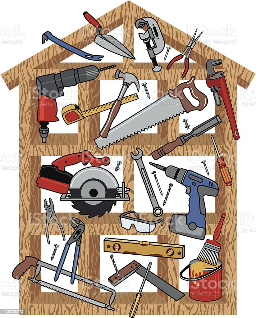 A graphic design of a house frame with construction tools vector art illustration