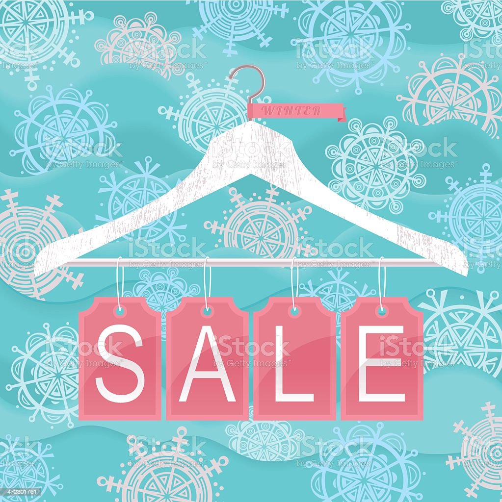 Graphic design of a winter sale in blue and pink royalty-free stock vector art