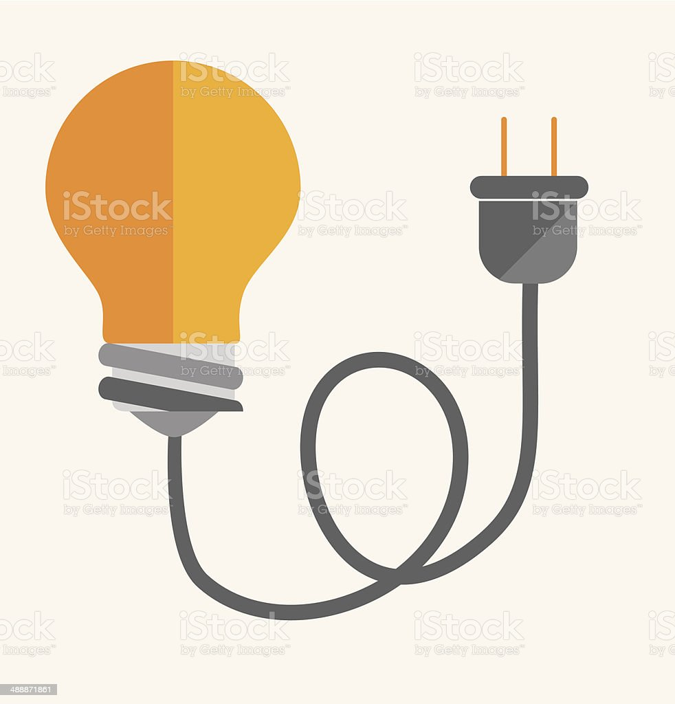 Graphic design of light bulb with power cord vector art illustration