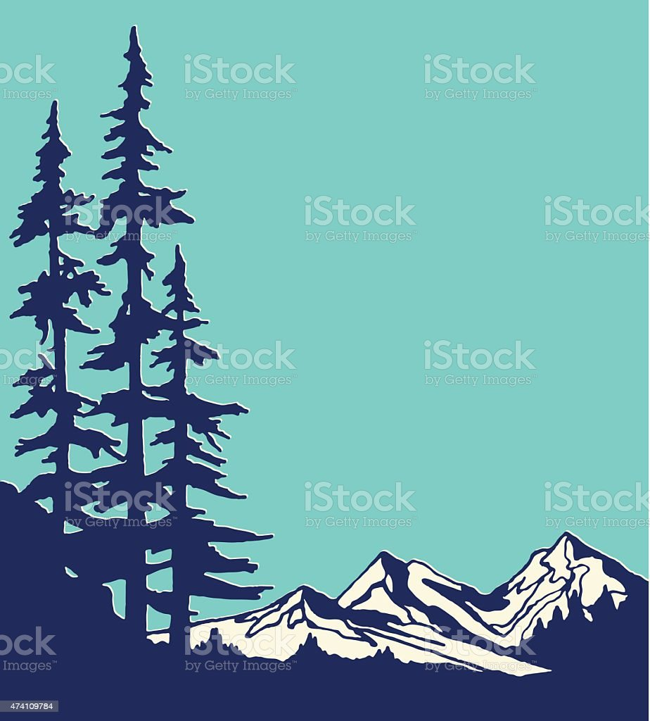 Graphic design of mountain and pine trees vector art illustration
