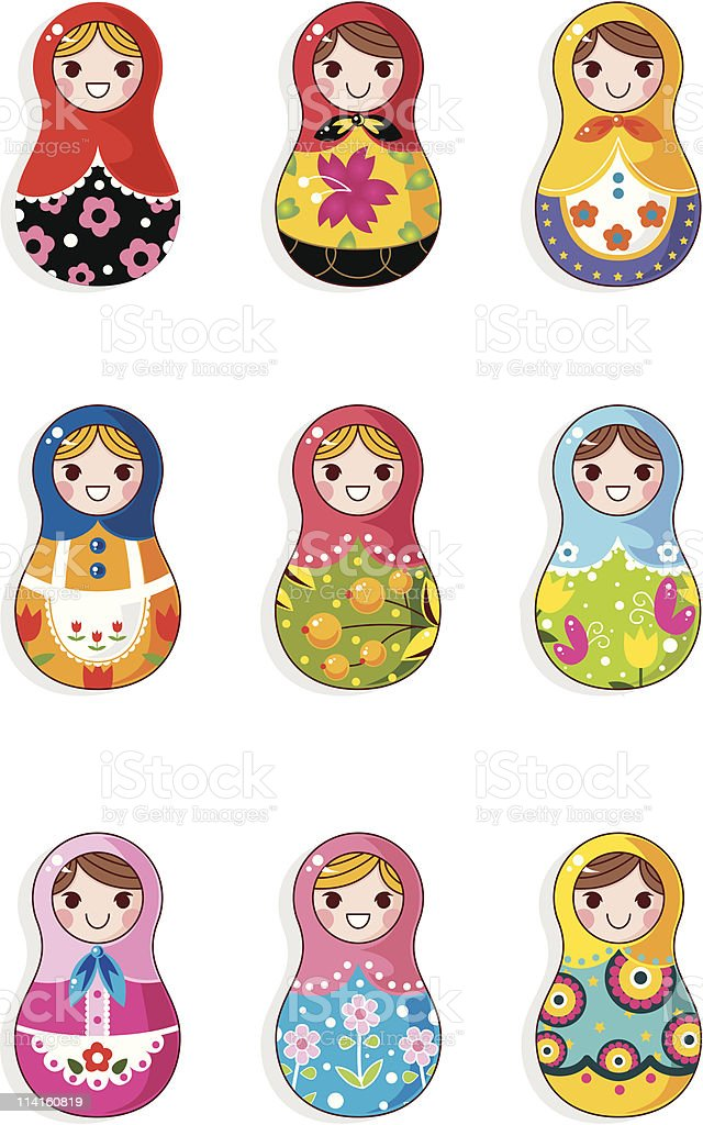 Graphic design of Russia doll icons vector art illustration