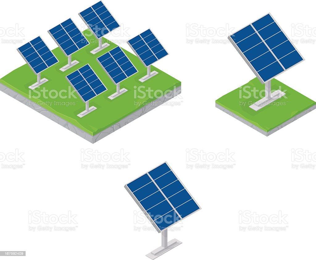 Graphic design of various solar panels on white vector art illustration