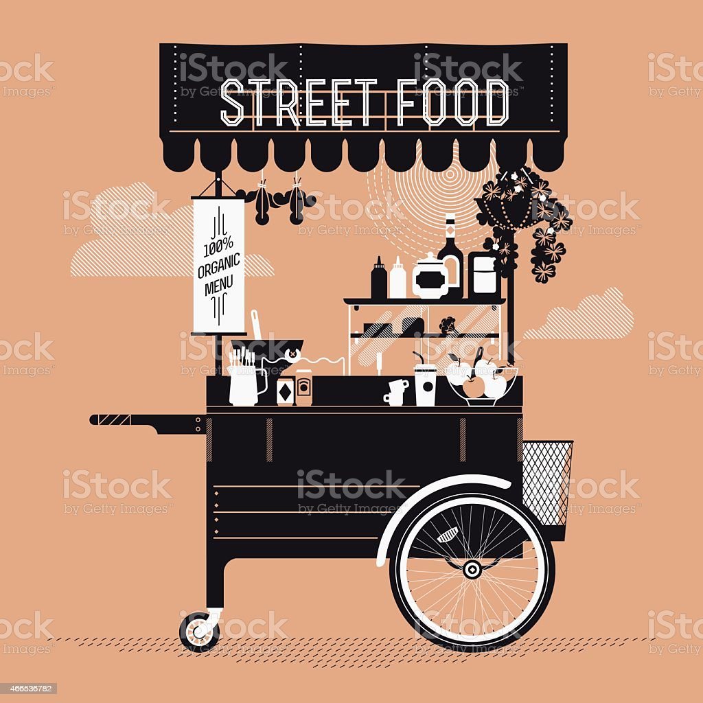 Graphic design on street food with retro vending cart vector art illustration