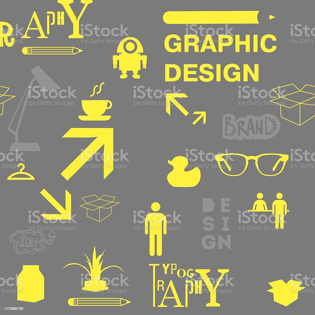 Graphic design pattern designer staff and equipment. vector art illustration