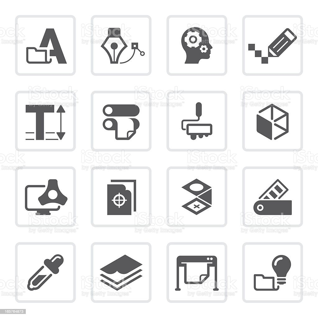 graphic design & print icons | prime series royalty-free stock vector art
