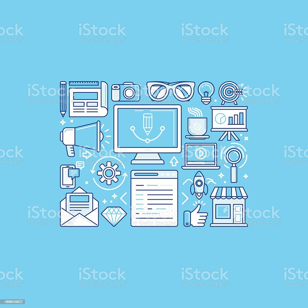 Graphic design process vector art illustration