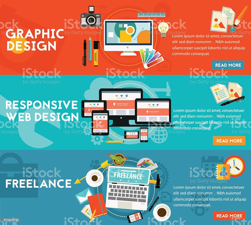 Graphic Design , Responsive Webdesign and Freeance Concept vector art illustration