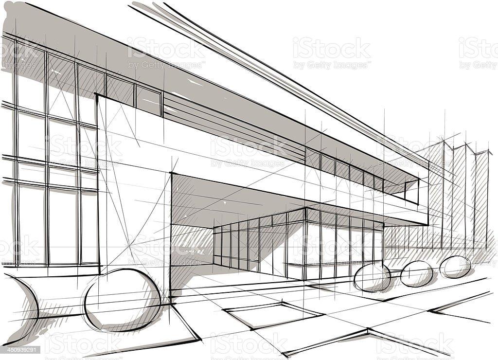 Graphic design sketch of architecture and landscape vector art illustration
