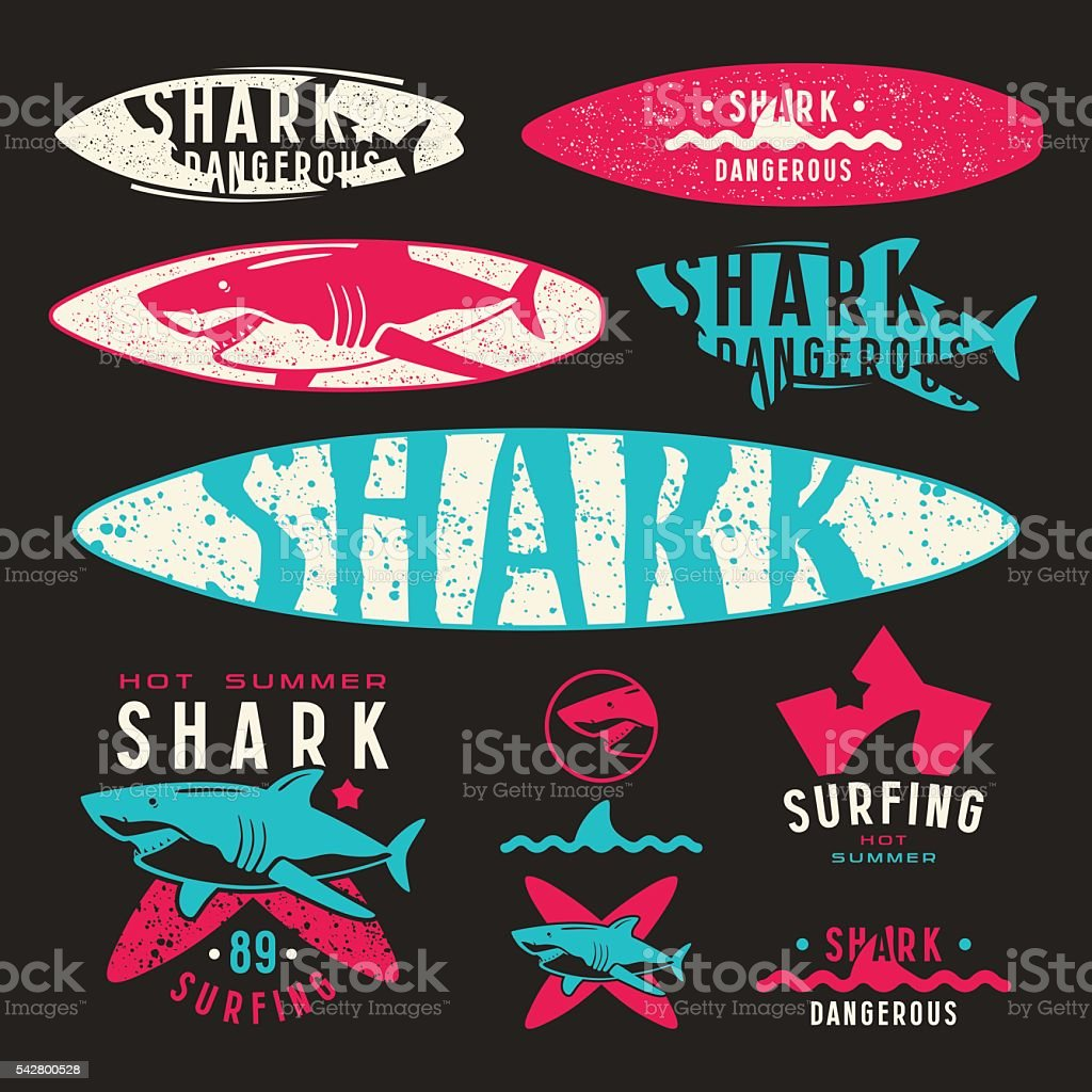 Graphic design with the image of shark for surfboard vector art illustration